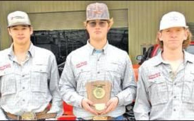 Pictured left to right are Kade Kimball, Ross Smith and Jackson Black.All three are seniors at Teague ISD, and competed at TSTC Diesel Technology in Waco Thursday, Jan. 23, in the Area 8 Tractor Technician Contest. The students received third place and a