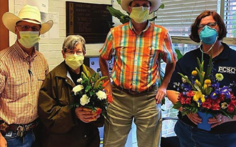 Freestone County Sheriff's Office employees honored Mary McDonald and Karren Townsend for Administrative Professionals Day.