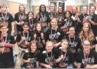 RIGHT: Teague Junior High School students took home awards at the competition held Dec. 16 at Teague ISD. Leynie Horton, in the play as Momma, was awarded the All-Star Cast award. For playing the role of Necktie, Jace Pickett earned Honorable Mention All-